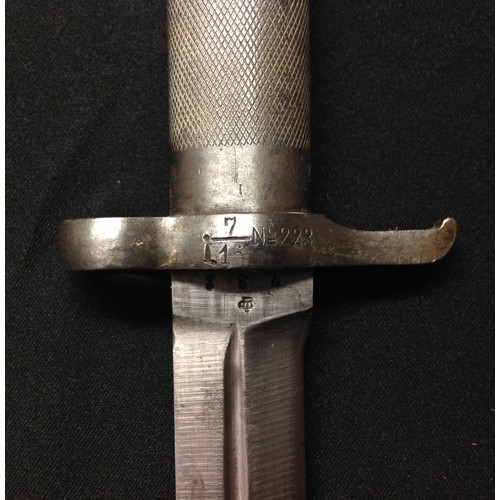 25 - Swedish M1886 Pattern bayonet with conical locking stud. Doubled edged blade 206mm in length. Serial...