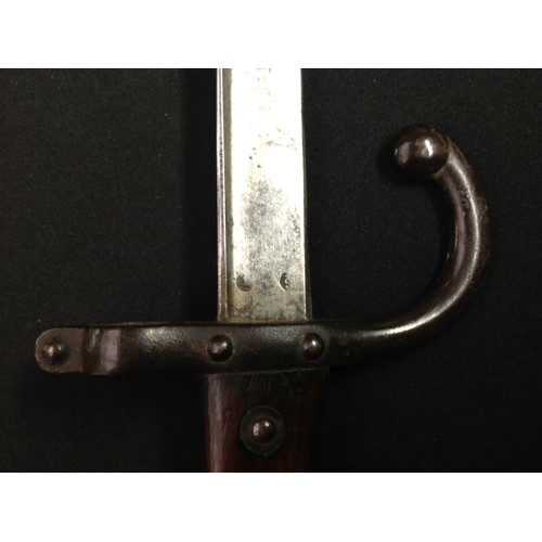 31 - French 1874 pattern Graz Bayonet with 520mm single edge blade. Arsenal maker marked St. Etienne and ...