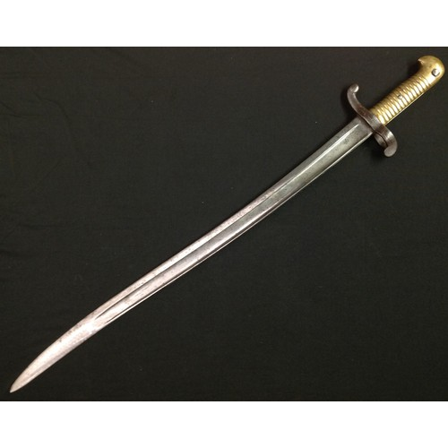34 - French 1842 Pattern Bayonet with single edged fullered blade 570mm in length, maker marked and dated...