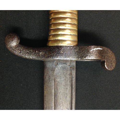 35 - French 1842 pattern bayonet with single edged fullered blade 572mm in length, maker marked and dated...