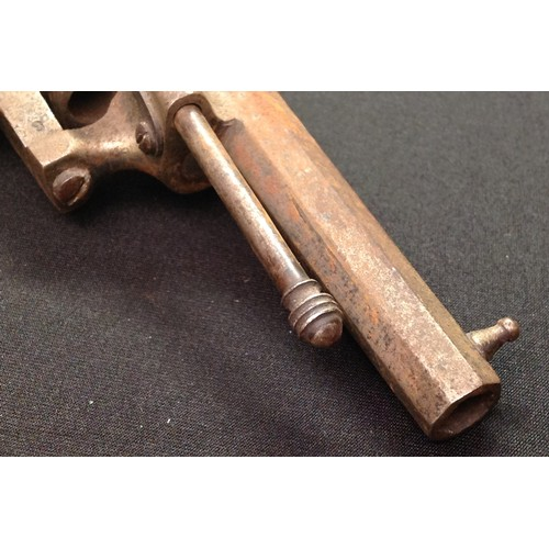41 - Belgian made Pinfire Revolver with 73mm long octagonal barrel. Bore approx 7mm. Cylinder marked