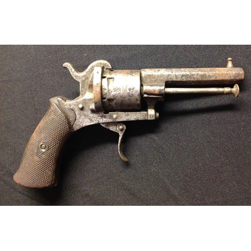42 - Belgian made Pinfire Revolver with 73mm long octagonal barrel. Bore approx 7mm. Cylinder marked