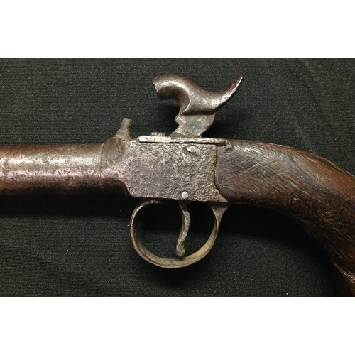 43 - Percussion cap pistol with 71mm long barrel with approx 10mm bore. Hammer will hold at both full and...