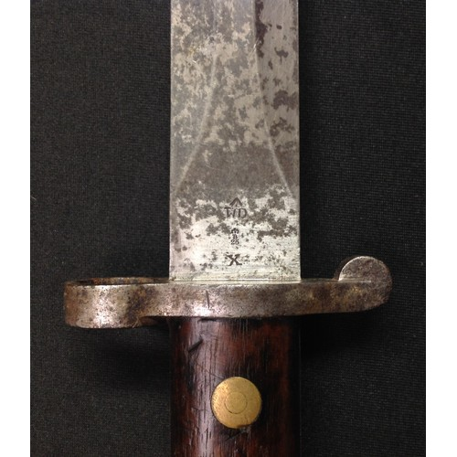 44 - Boer War Lee-Metford bayonet with double edged blade 30cm in length, well marked with makers name