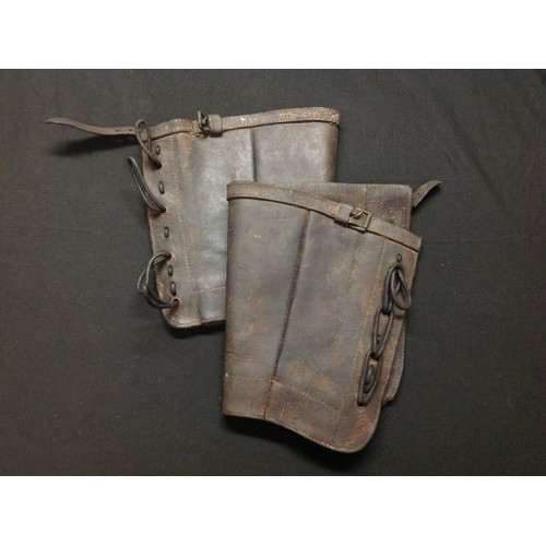 47 - Victorian Boer War British Army Leather Gaitors dated 1892. Complete with laces. Both have unit mark...