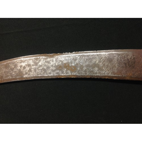 50 - An African dagger, probably Sudanese, 35cm curved blade, Crocodile skin covered grip, 50cm long over...