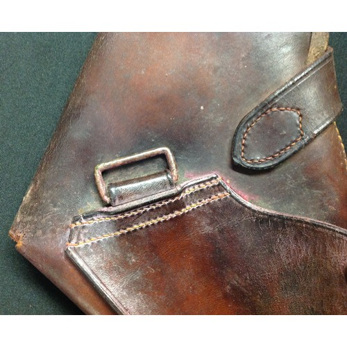 59 - WW1 British Army Brown Leather Officers Revolver Holster. No markings. Closure strap with stud faste...