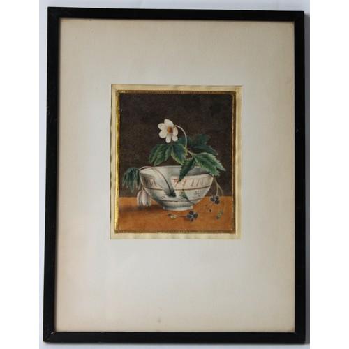 3764 - English School, 19th century Still Life Study, 'Flower and a Broken Cup'   watercolour, 17cm x 14cm