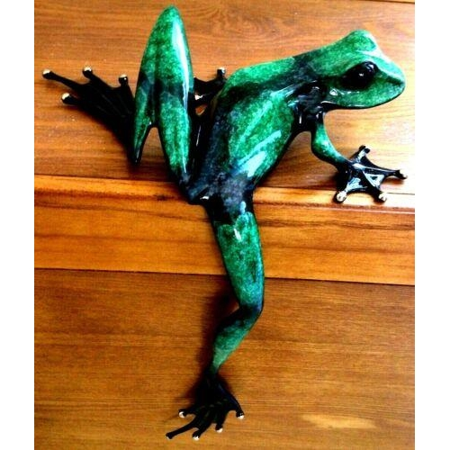 5 - Tim Cotterill, Leg Over Frog, an emerald patinated bronze, 31.5cm high, limited edition of 1000, cas...
