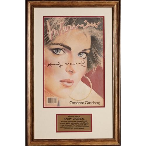 8 - Andy Warhol – Interview Magazine, signed by Andy Warhol, framed. This framed Art Piece has the July ...