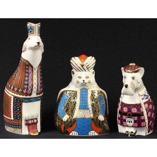 4 - A Royal Crown Derby National Dogs model, Borzoi, first quality; another, Scottish Terrier, second qu...