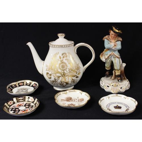 12 - A Royal Crown Derby figure, Winter, 23cm, second quality; a Royal Crown Derby Brocade pattern teapot...