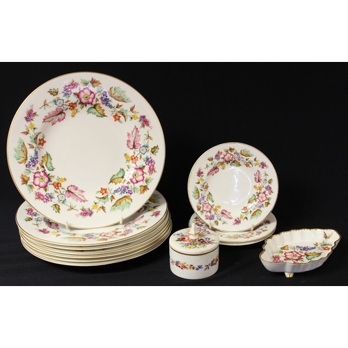 20 - An Abbeydale Hazelwood pattern trinket pot and cover, seven dinner plates, three side plates, shaped...
