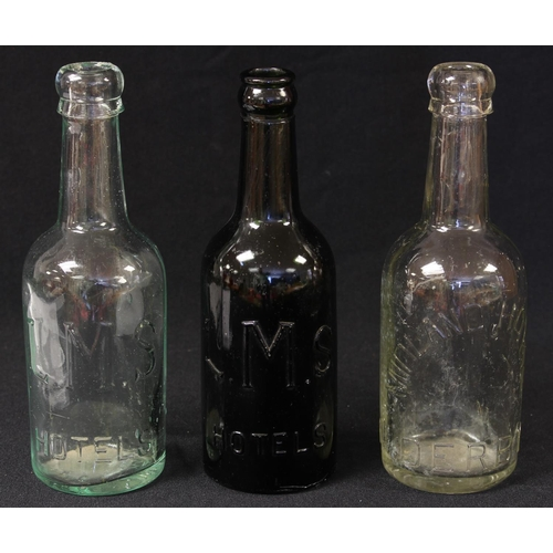 51 - Advertising - Railwayana - Local Interest - a 19th/early 20th century clear glass bottle, Midland Ho...
