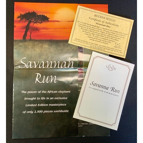 1 - A large Brooks & Bentley limited edition figure, Savanna Run, Lenox 2001, with certificate, 24cm hig...