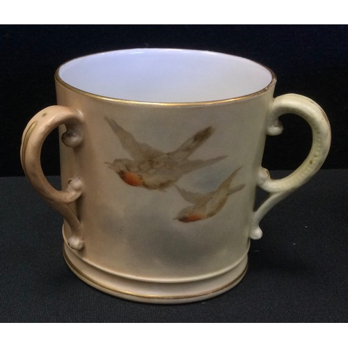 3 - A Royal Worcester Blush ivory tyg, painted with Swooping Swallows;  similar vase;  miniature floral ...