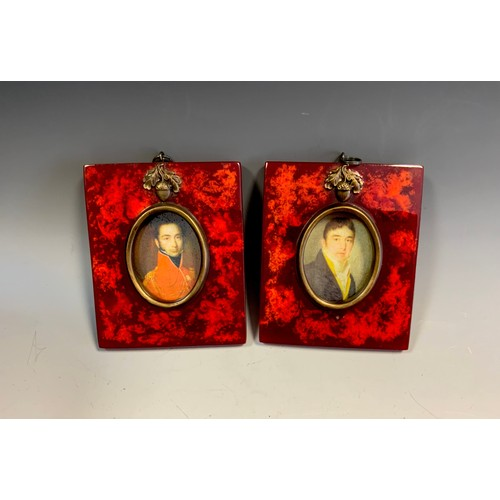 5 - A George III style oval portrait miniature print of a Gentleman;  another, tortoiseshell effect fram...