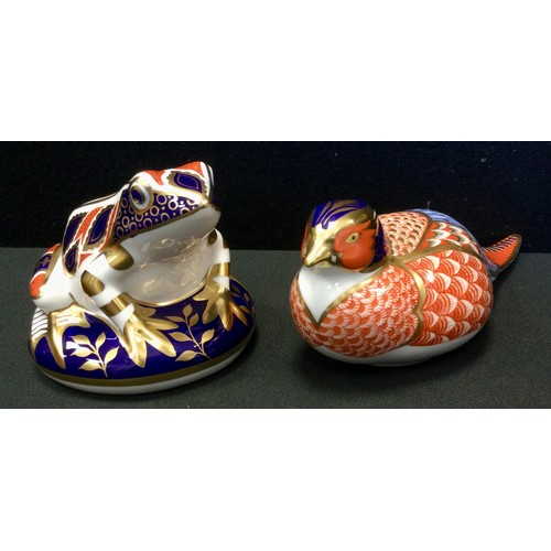 6 - A Royal Crown Derby frog paperweight, silver stopper;  another Pheasant, no stopper (2).