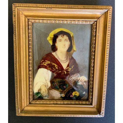 15 - A 19th century crystoleum Gypsy Girl, 12.5cm x 9cm;  another Kneeling child, 13cm x 10cm (2).