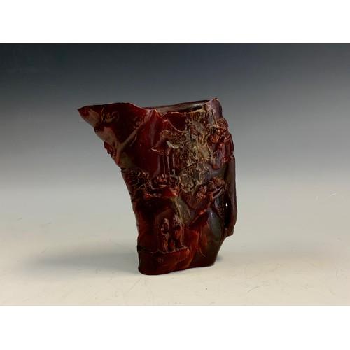 20 - A contemporary horn effect libation cup, 13.5cm high
