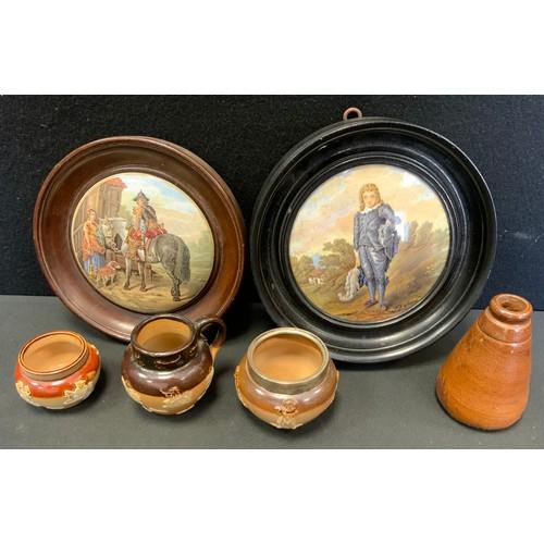 21 - A prattware pot lid, The Trooper;  another Blue Boy;  Doulton Lambeth stoneware salt, etc.