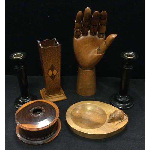 24 - A Robert Mouseman Thompson style oval trinket dish, 16cm long;  imbula wood string box;  coasters;  ...