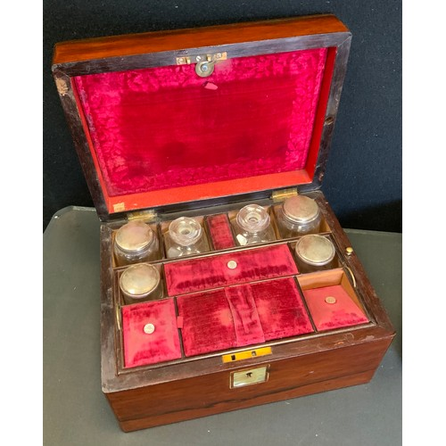 39 - A Victorian mahogany vanity box, fitted interior with silver plated topper bottles, lift out tray, e...