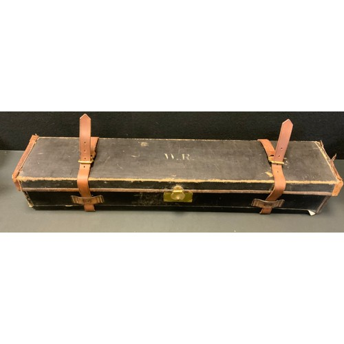 49 - A Victorian leather & canvas shotgun case, lift out tin top tray, fitted interior, marked registered...