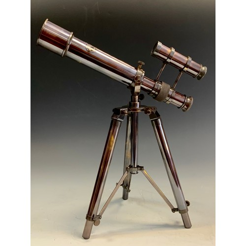 58 - A replica Kelvin & Hughes table top telescope, folding tripod stand, 25,7cm long.