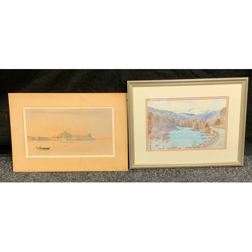 60 - Thomas  Train (1890 - 1977), River Dee, signed, titled, watercolour, 18cm x 28cm;  Scarvetti, Corfu,...