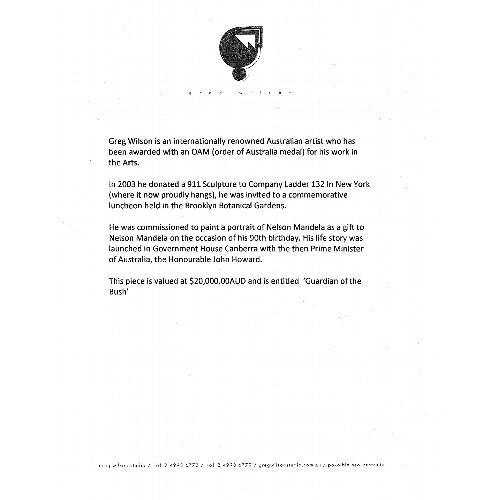 12 - Greg Wilson, The Guardian of the Bush, signed, oil on linen, 122cm x 152cm. Greg Wilson is an intern...