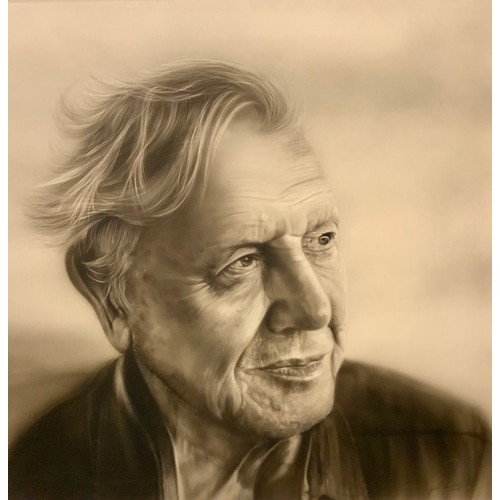 29 - Gordon Corrins  Portrait of Sir David Attenborough signed, dated 2017, 59.5cm x 59.5cm  If you are s...