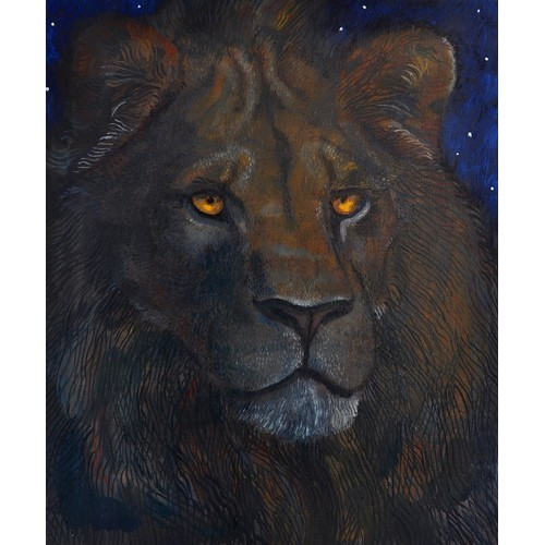 32 - Ed Vere original oil painting on linen.  Signed and Dated. Night time portrait of King the lion at S...