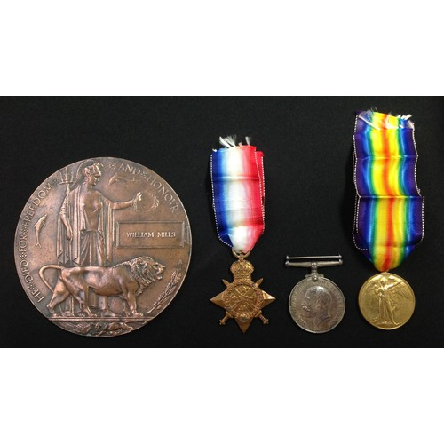 3 - WW1 British 1914 Star, War Medal and Victory Medal & Death plaque to 8255 Pte William Mills, Leinste...
