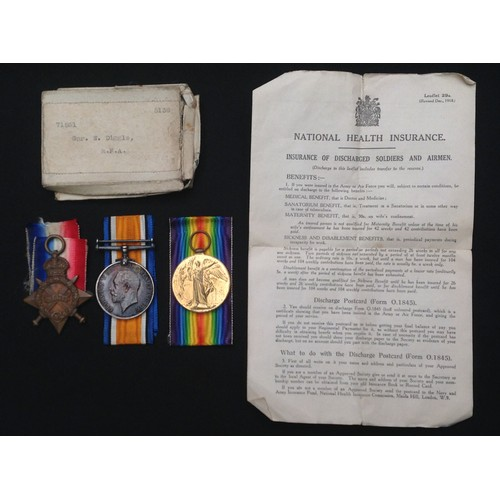 4 - WW1 British Medal group to 71561 Gnr W Diggle, RFA, comprising of 1914-15 Star, British War Medal an...