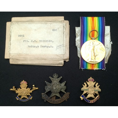 5 - WW1 British Victory Medal to 9951 Pte CR Thompson, Notts & Derby Regiment in packet of issue with ri...