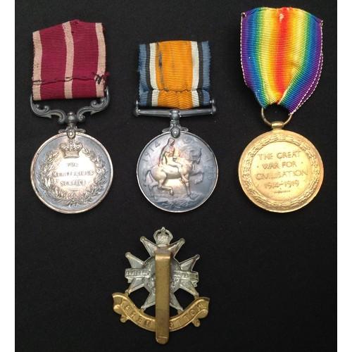 8 - WW1 British Medal Group to 14812 Sjt ACSMjr S Hodkinson, 4/Notts & Derbyshire Regt comprising of Mer...