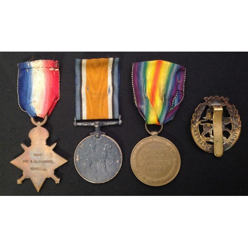 9 - WW1 British Medal Group to 11995 Sgt WH Lockwood, Yorkshire Light Infantry comprising of 1914-15 Sta...