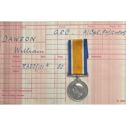 16 - WW1 British War Medal to R4-124949 ACpl. W Dawson, ASC. Complete with ribbon and research.