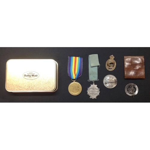 18 - WW1 British Victory Medal to 105528 2 Clp GH Marshall, RE. Complete with replacement ribbon along wi...