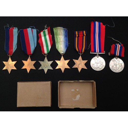 22 - A collection of WW2 British Campaign Medals to include: 1939-45 Star x 2: British War Medal 1939-45 ...