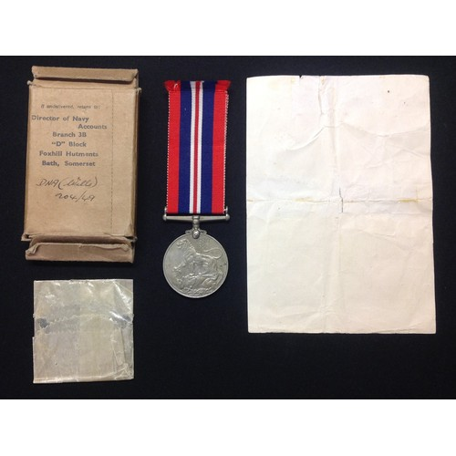 24 - WW2 British War Medal 1939-45 Royal Navy Killed in Action awarded to Howard Borland Herbert. Complet...