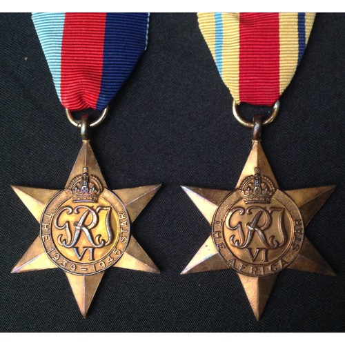 25 - WW2 South African Medal Group to 8102 E. Morris consisting of 1939-45 Star, Africa Star, Italy Star ...