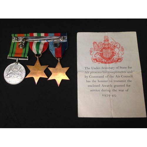 26 - WW2 British RAF un-named medal group consisting of 1939-45 Star, Italy Star and Defence Medal. All m...