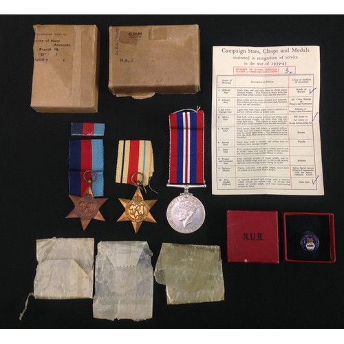 31 - WW2 British Royal Navy Medal Group to Jx243944 George Walker comprising of 1939-45 Star, Africa Star...