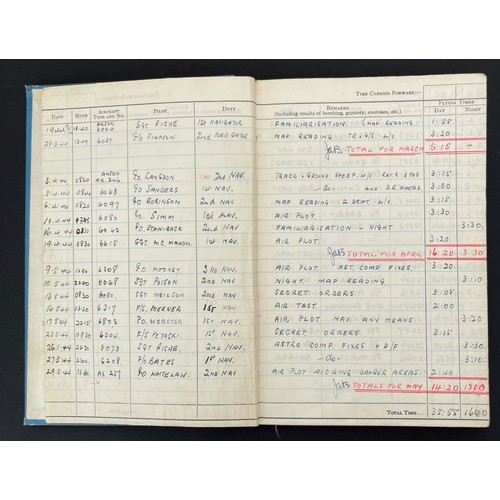 32 - WW2 British RAF Navigators Log book, Service & Release Book and Medals to 1675907 Sgt Horace Street,...
