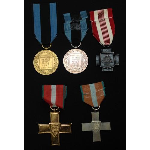 33 - Polish Order Krzyza Grunwaldu, Order of Grunwald 1st class and Order of Grunwald 2nd class. Ribbon t...