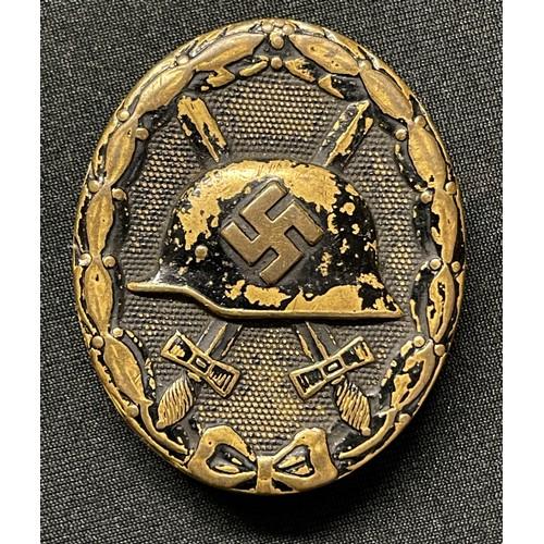 35 - WW2 Third Reich Verwundetenabzeichen im Schwarz 1939 Wound Badge in Black 1939. Early example in Tom...
