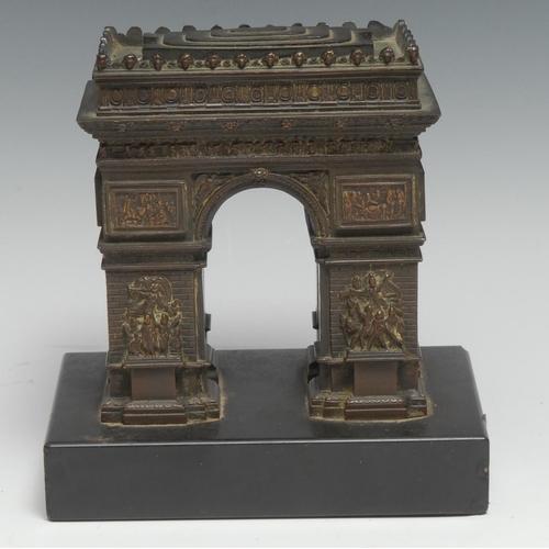 3042 - A 19th century Grand Tour bronze library model, of the Arc de Triomphe, Paris, rectangular black mar...