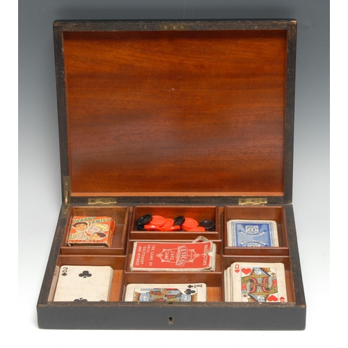 3047 - A 19th century kingwood and ebonised rectangular playing card box, hinged cover inlaid with a vacant...